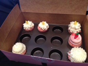 Pink Watch Party cupcakes